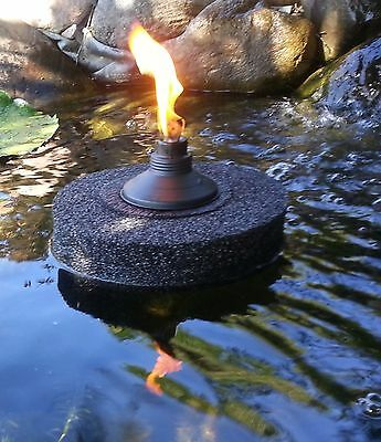 "Floating Citronella Tiki Torch-Black 9""-koi-ponds/pools-water gardens-night fire"