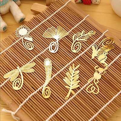 1Pc Carved Book Magazine Label Mark Gold Mini Metal Chinese Style Bookmark Clip