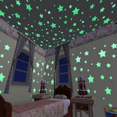 100pcs 3D Stars Luminous Fluorescent Wall Stickers Glow In The Dark Kids Home