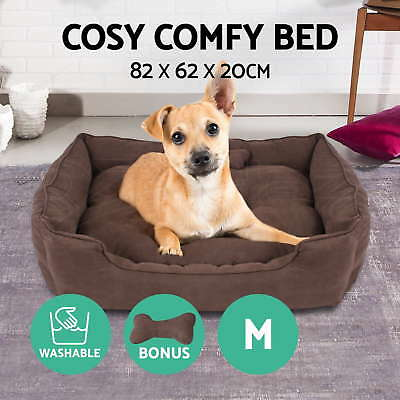 Pet Bed Dog Cat Puppy Soft Deluxe Faux Suede Cushion Washable Basket Mat Medium