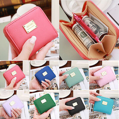 New Womens Girl Soft Leather Card Purse Handbag Coin Case Zip Mini Small Wallet