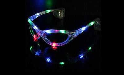 LED Colorful Glow Party Club Flashing Sunglasses Glasses Light Blink Xmas Fun