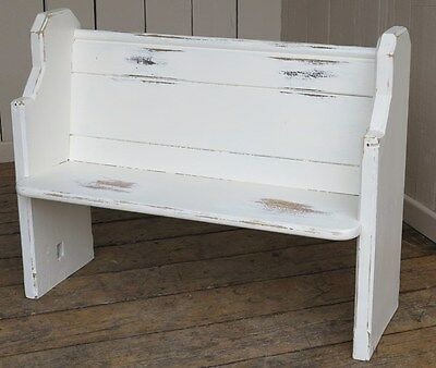 Vintage Painted Old Church Pitch Pine Pew - Antique Wooden Bench Settle Seating