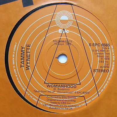 """TAMMY WYNETTE - Womanhood - Excellent Condition 7"""" Single Epic EPC 6565"""