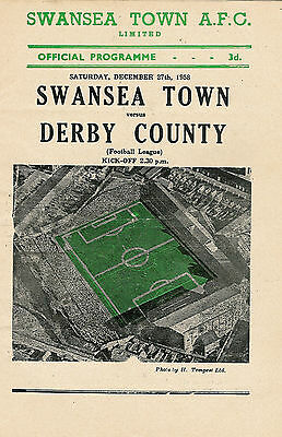 Swansea Town (now City ) v Derby County 27 Dec 1958  FOOTBALL PROGRAMME