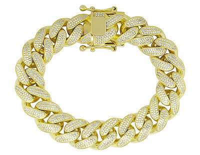 Men's Sterling Silver Yellow Gold Miami Cuban Link Simulated Diamond Bracelet 8""