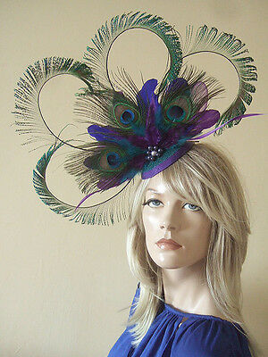 f621d395 Blue Purple Teal Green Curled Peacock Cluster Large Headpiece Ascot Hat  MN169