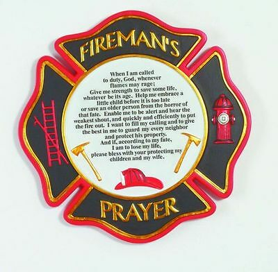 """9"""" Fire Rescue Firefighter Prayer Stepping Stone or Wall Plaque"""