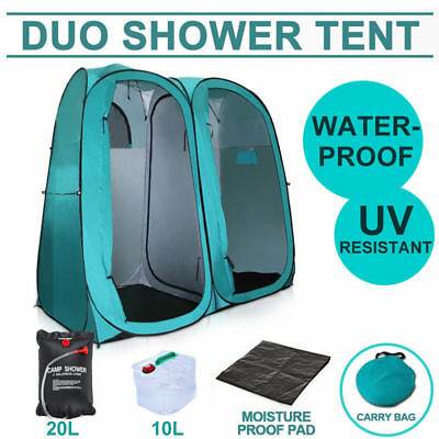 Pop-Up Twin Duo Shower Tent Camping Portable Toilet Change Room + Shower Bag