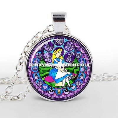Alice In Wonderland Kingdom Of Hearts Glass Pendant Necklace Silver In Gift Bag