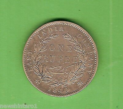 1840  British  East  India  Company  One Rupee  Silver  Coin