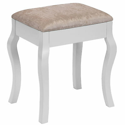 Beautify White Vintage Padded Dressing Table Stool Makeup Chair Piano Music Seat