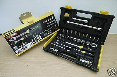 """Stanley 50Pce Microtough 1/4"""" & 1/2"""" Socket Set 1 94 658 Reduced"""