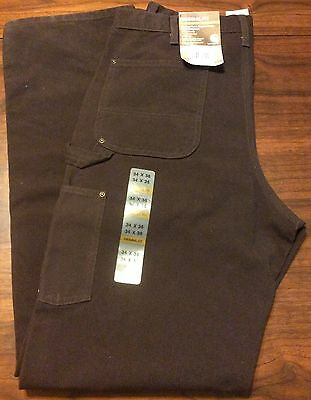 Carhartt Washed Duck Double Front Work Dungaree Pants 34 X 36 Brown New