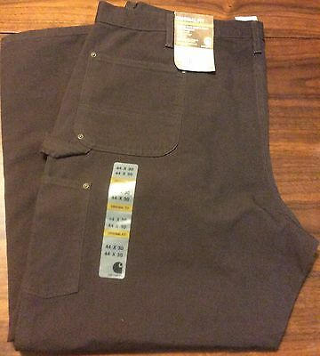 Carhartt Washed Duck Double Front Work Dungaree Pants 44 X 30 Brown New
