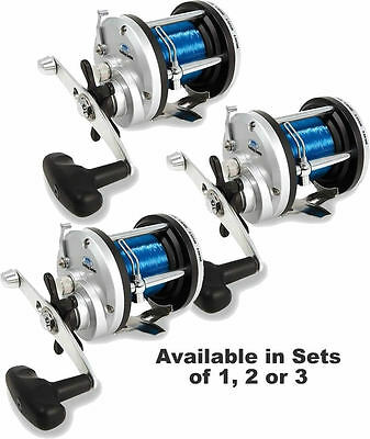 Lineaeffe JD 300 Multiplier Fishing Reel + 20lb Sea Line Loaded Beach Boat Reel