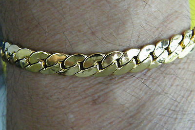 "18kt GOLD BRACELET Yellow Gold Filled 8 1/2"" Smooth Heavier Weight! Sharp! NEW!"