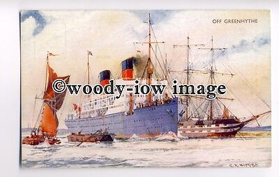 L8842 - Union Castle ? Liner off Greenhithe - artist C R Hopkins - postcard