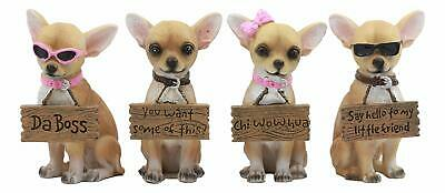"Set of 4 Adorable Tea Cup Chihuahua Dogs Statues 4.25""H Holding Humorous Signs"
