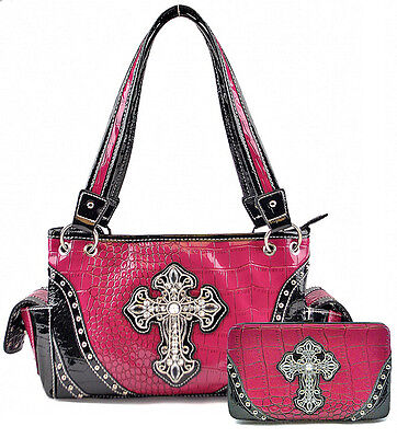 Purple Spiritual Cross Satchel and Clutch Purse - Women's Handbag Wallet Set