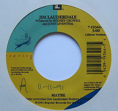 """JIM LAUDERDALE - Maybe - Excellent Condition 7"""" Single Reprise 7-19344"""