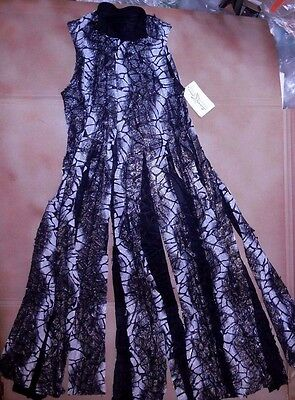 NWT Praisewear Tunic Black Silver Long Flyer Skirt collared snapfront Adlt/Chld