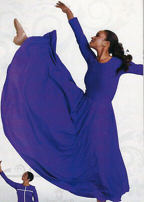 NWT Praise Liturgical Long Sleeve Plum Dress Praisewear Dance Ladies/Girls 76176