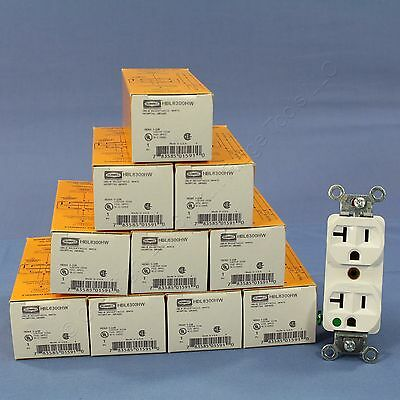 10 NEW Hubbell White HOSPITAL Receptacle Duplex Outlets NEMA 5-20R 20A HBL8300HW