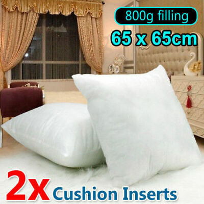 2x European Cushion Pillow Inserts Polyester Filling White 65x65cm