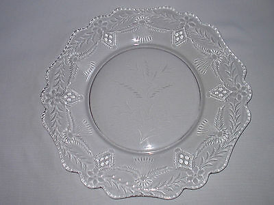 Antique 14 3/8 Inch Cut Glass Plate Platter Wheat Design No Flaws