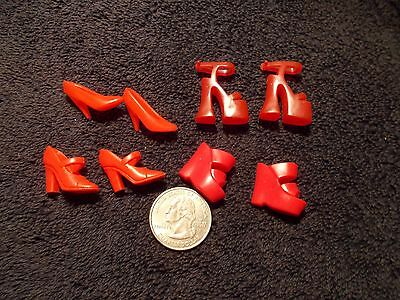 Barbie Lot Of 4 Pairs Of Red High Heels Shoes B451