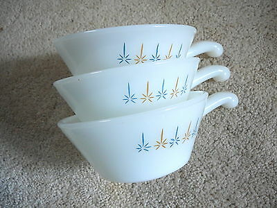 FIRE KING - 3 Vintage CANDLEGLOW HANDLED CASSEROLE SOUP BOWLS - ANCHOR HOCKING