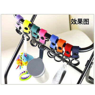 2Pcs Anti Drop Toy Diaper Bottle Fastening Clip Stroller Pram Strap Hang Hooks