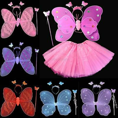 3/4pc Girls Butterfly Wings Wand Headband Princess Fancy Party Fairy Costume Set