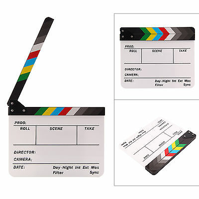 Acrylic Clap Clapper Board Clapperboard Film Movie Action Scene Slate 30x24CM L