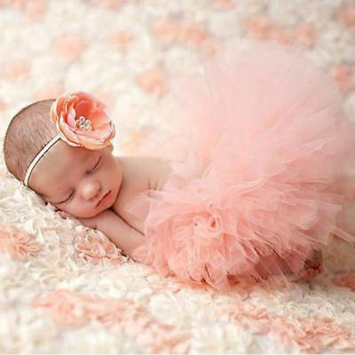 Newborn Toddler Baby Girl Skirt & Headband Photo Prop Costume Outfit Z