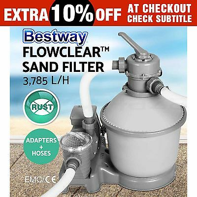 New Bestway Sand Filter Pump Swimming Ground Pool 1000Gal/h