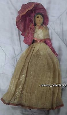 FILIPINA DOLL in PIÑA Traditional Dress w Bamboo Base PHILIPPINES