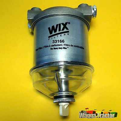 "FFK8166 Single CAV Style Diesel Fuel Filter Assy Glass Bowl 1/2"" Ports Wix 33166"