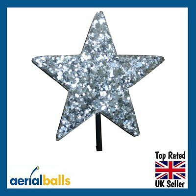 REDUCED...Silver Stardust Glitter STAR Car Aerial Ball Topper