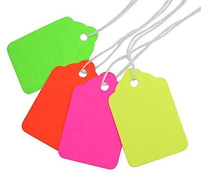 #5 Fluorescent Colors Merchandise Tags with Knotted Strings 1-3/4x1-1/8 MD5000FX