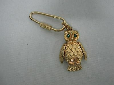 Vintage Glitzy Gold With Green Eyes Owl Solid Compact Perfume Keychain