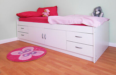 Childrens Single White Cabin Bed British Made Free Delivery (R236W)