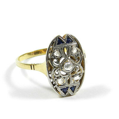 Art Deco Saphir Diamant Ring um 1920 Antiker Ring in Platin & 18K Gold Sapphire