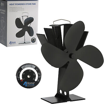 Heat Powered Wood Burning Gas Stove Top Silent Eco Friendly Warm Air Fan Black