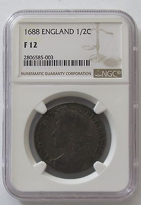 1688 Great Britain England 1/2 Half Crown; NGC F12 KM# 462