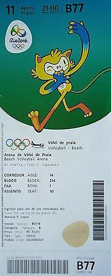 TICKET M 11.8.2016 Olympia Rio Olympics Beach Volleyball # B77