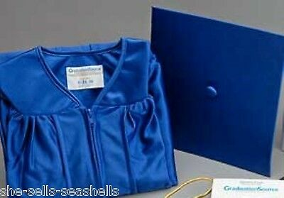 "New Graduation Source Shine Blue Cap & Gown Set Choose Height Size 4'9"" ~ 5'11"""