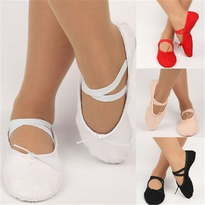 Women Girls Child Adult Soft Canvas Ballet Dance Shoes Pointe Slippers