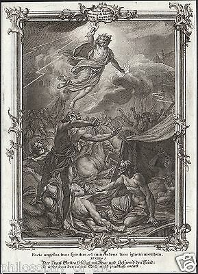 ANGEL of God - Guardian Angel War Bible Rococo 18th Century Engraving